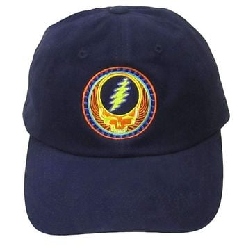 Grateful Dead Orange Sunshine Embroidered Baseball Hat in Navy