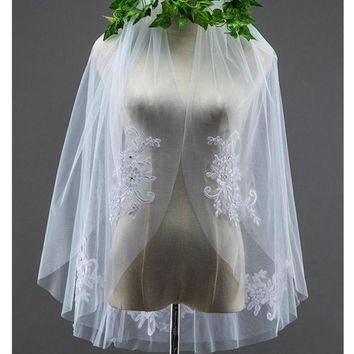 White short bridal veils ivory Two Layers beading Wedding veils Wedding Accessories