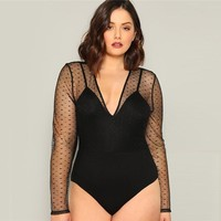 Plus Size Sexy Black Contrast Dot Mesh Plunging Women Bodysuits Deep V-neck Long Sleeve Stretchy Bodysuit