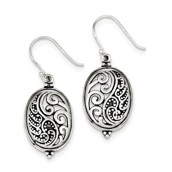925 Sterling Silver Antique Oval Yin Yang Dangle Earrings