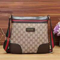 GUCCI New fashion leather stripe couple shopping shoulder bag Khaki