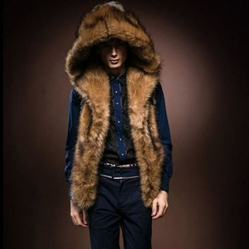 Winter Faux Fur Men's Vest Hooded Plush Vest Jacket Plush Knee Shoulder Men's Fur coat HN140