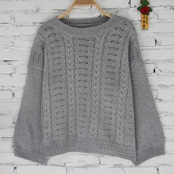 Knit Winter Women's Fashion Plus Size Hollow Out Tops [14118715412]