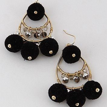 ROMANY POM POM EARRINGS - BLACK + GOLD