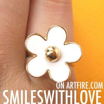 SALE - Adjustable Daisy Floral Ring in White on Gold