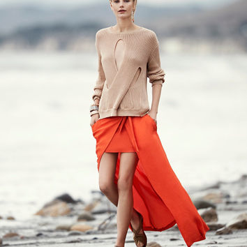 Barbara Bui Maxi Wrap Skirt: Orange at INTERMIX | Shop Now | Shop IntermixOnline.com