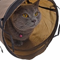 Funny Pet Tunnel Cat Play Tunnel Brown Foldable