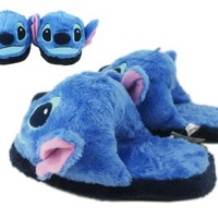 Disney's Stitch Blue Colored Furry Slippers