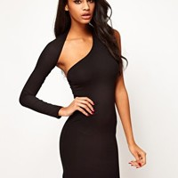 ASOS Mini Bodycon Dress With One Sleeve at asos.com