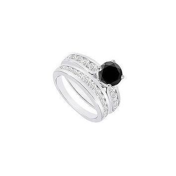 Black & White Diamond Engagement Ring with Wedding Band Sets 14K White Gold  1.75 CT TDW