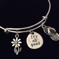 It's All Good Flip Flop Daisy Expandable Charm Bracelet Silver Adjustable Inspirational Gift