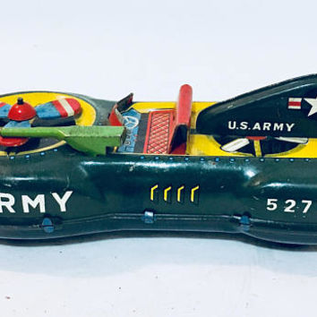 Vintage HAJI Army Friction Toy, Japan Tin Toys, Japanese Tin Toy, Antique Alchemy