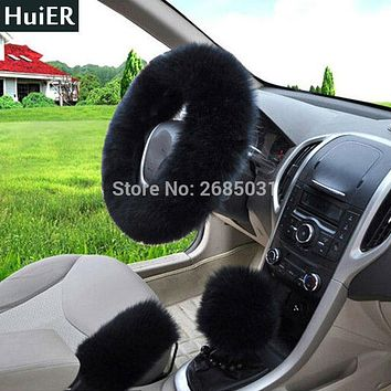 New 3pcs/set Winter Car Steering-wheel Cover Long Australian Wool Plush 38cm Heated Fur Genuine Leather Fur Steering Wheel Cover