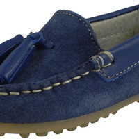 Chuches 200 Boy's Blue Soft Suede Leather Slip On Tassel Loafer Flat Shoes