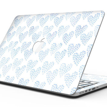 Blue Watercolor Hearts Pattern - MacBook Pro with Retina Display Full-Coverage Skin Kit