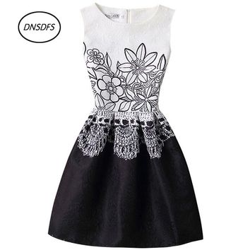 Girls' 5~20 years old sleeveless collar small freshness school dresses and 2018 teen fashion street walking butterfly prints