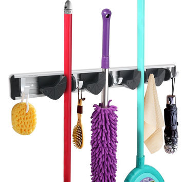 Wall Mounted Broom Mop Holder Organizer Garage Storage Hooks  4 Position 5 Hooks for Shelving Ideas