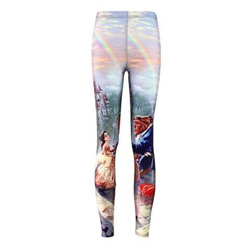 PEAPON Plus size Summer leggings Women Hot Leggings Digital Print Popular Beauty and the Beast Fitness Sexy LEGGING Drop Ship