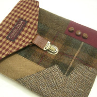 i Pad, iPad 3, iPad 2 case vintage,  green plaid,   berry wool, Eco Friendly  Recycled suit coat