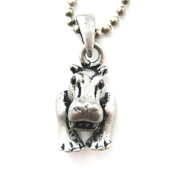 Hippopotamus Hippo Animal Charm Necklace in Silver | Animal Jewelry
