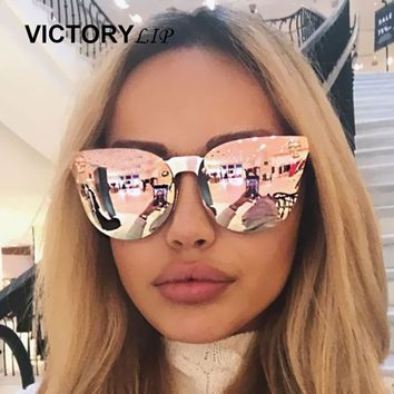 Rose Gold Sunglasses Brand Designer Women Skull Mirror Gothic Punk Sun Glasses Mirror Flat Lens Cat Eye