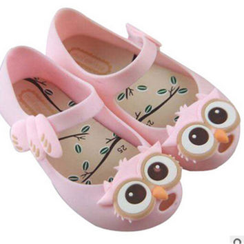 Mini Melissa Shoes Owl Toddler Girls Sandals Kids Rubber Jelly Shoes For Girls Summer Flats Children Animal Sandals 15-18cm