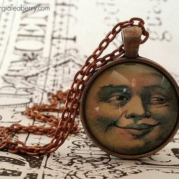 Man in the Moon, glass dome necklace, Steampunk, round glass, gift ideas, hostess gift, party favors, key ring, vintage moon illustration