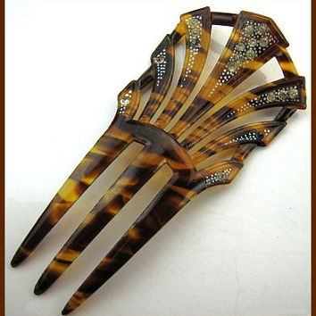 "ANTIQUE Hair Comb Art Deco Style Faux Tortoise Shell Clear Rhinestones BIG 5"" VG"