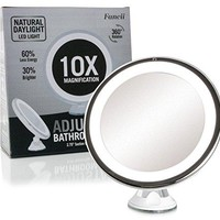 "Daylight LED 10X Magnifying Makeup Mirror - 8.0"" Large Lighted Travel Vanity Mirror - Dimmable Light, Cordless, Battery Operated, Locking Suction, 360 Rotation, Portable & Illuminated"