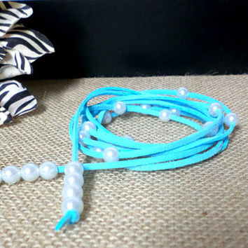 6 Wrap Boho Baby Blue Suede Leather White Pearl Multi Wrap Bracelet, Lariat Choker Necklace, Anklet - Pick COLOR / LENGTH Usa Seller, gift