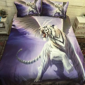 3D White Tiger Cool Bedding Sets Comforter Bed Cover Homemade Bedspread Duvet Cover Set Queen King Size Bedding Double Bed Sheet