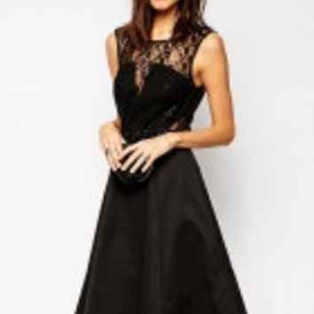 Lace Midi Skater Dress with Embellished Waist