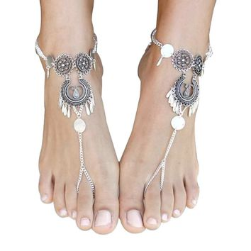 2 Pc Barefoot Sandal Bohemian Metal Slave Chain Beach Wedding Bride Ankle Bracelet Toe Ring Foot Jewelry