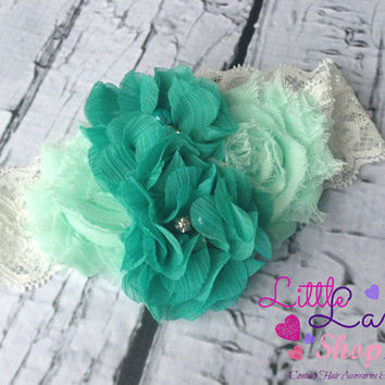 Shabby Chic Couture Baby Headband in Mint Teal Infant Headband, newborn baby girl hair band photography props, Canada