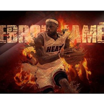 LEBRON JAMES basketball STAR poster 24X36 MIAMI renowned athlete HOT NEW! - QW0