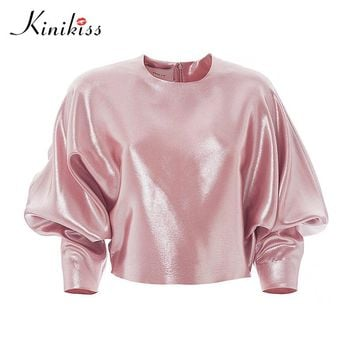 Women pink pleated women tops o neck puff sleeve fashion zipper solid spring sexy casual t-shirt