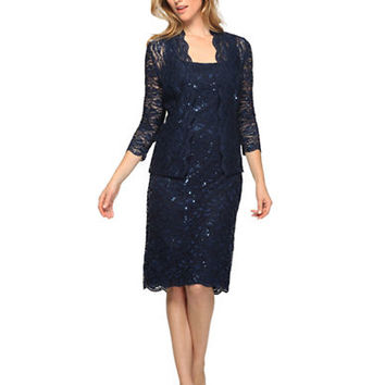 Alex Evenings Petite Sequined Lace Jacket and Dress Set