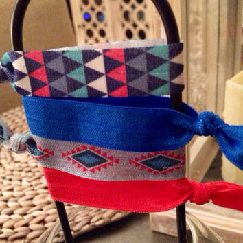 Royal Blue and Aztec Hair Tie Set of 4