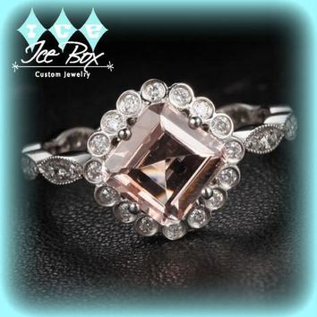 Morganite Engagement Ring 6mm Asscher Cut Morganite in Bezel set Diamond Halo Setting 14K White Gold