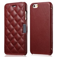 iPhone 6 Flip Case, [Check Pattern] [Litchi Grain] Genuine Leather Case With Magnetic Closure for iPhone 6 4.7 inch (Maroon Red)