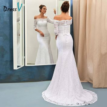 Dressv ivory Lace Mermaid Beach Wedding Dress 2017 Off-The-Shoulder Half Sleeves Court Train Trumpet Long Lace Up Bridal Gowns