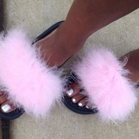 Nike Candy Pink faux fur slides