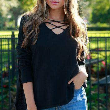 Front Criss Cross Sweater Black