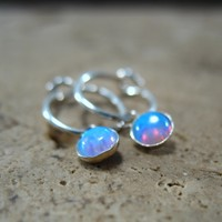 Little Hoop Earrings Dangle Silver MMS26 Blue Opal Gemstone