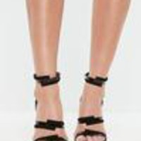 Missguided - Black Clear Strap Barely There Heels
