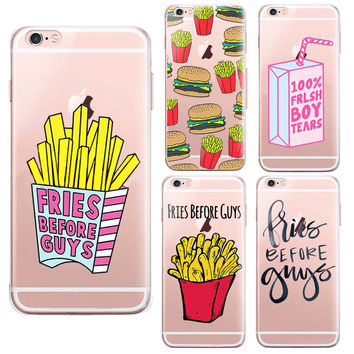 Phone Case For Apple Iphone 6 Case 4.7 6S SE 6 Plus Cases Hamburger French Fries Luxury  Iphone6 Phone Back Cover Anti-knock