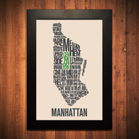 "MANHATTAN New York City Typography Map Print - 12"" x 18"""