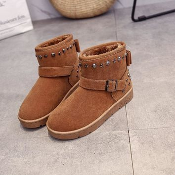 On Sale Hot Deal Winter Korean Cotton Suede Flat Round-toe Metal Boots [47584018439]