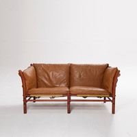 Authentic leather Arne Norell 2 Seater Ilona Safari Sofa, 1970s, Sweden