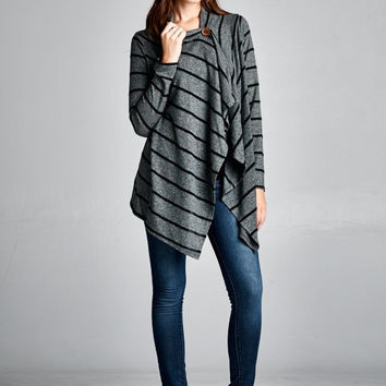 Cherish One Button Wrap Cardigan in Grey Stripe